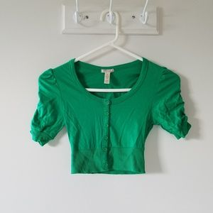 Ambiance Apparel Shrug Cardigan Small Ruched Green